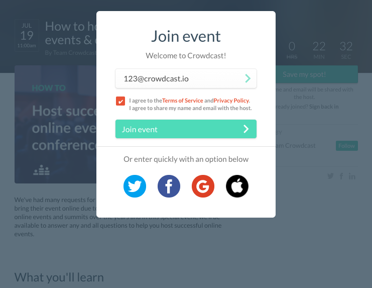 Registration page for a new user showing email input, checkbox for the terms of service, confirmation of joining event and SSO options