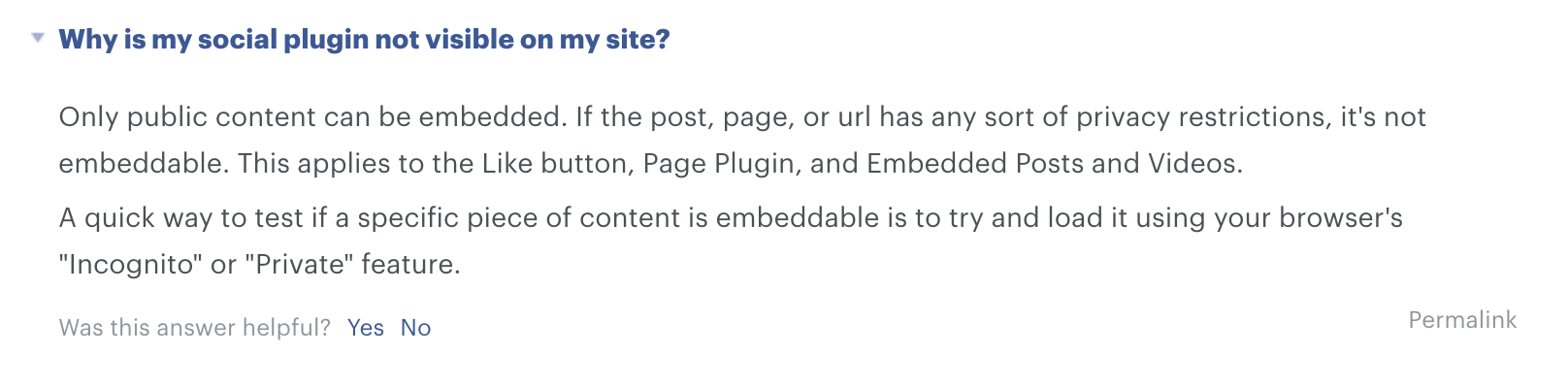 a screenshot from Facebook's FAQ page that says: