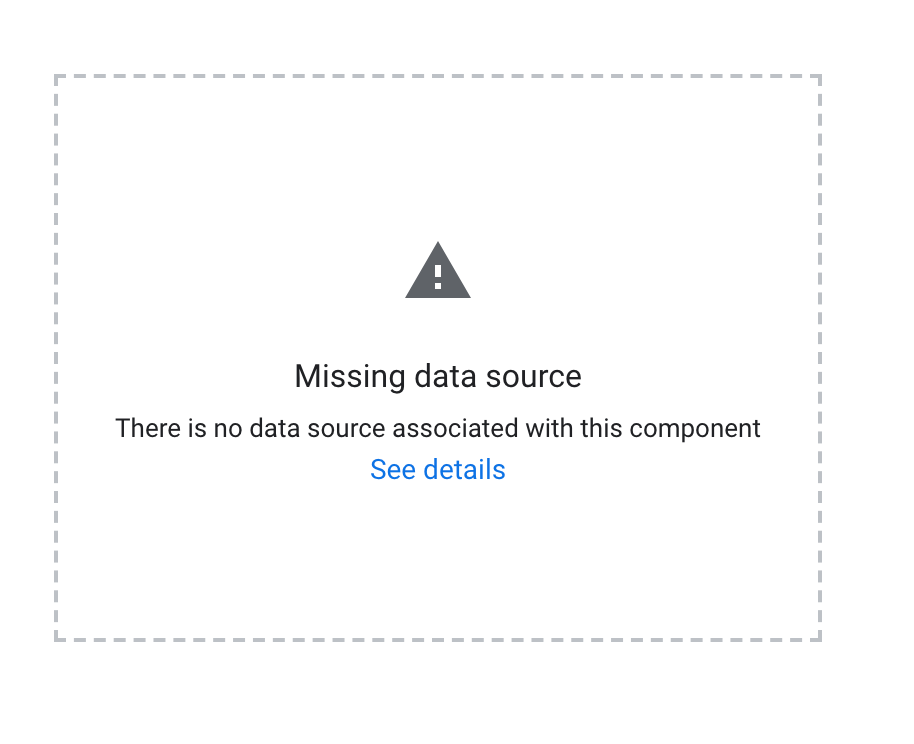 Missing data source error on Google Data Studio.