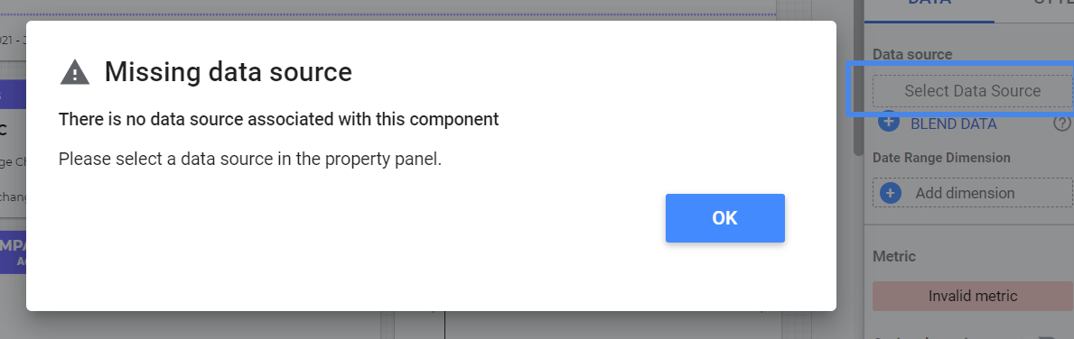 There is no data source associated with this component - Google Data Studio