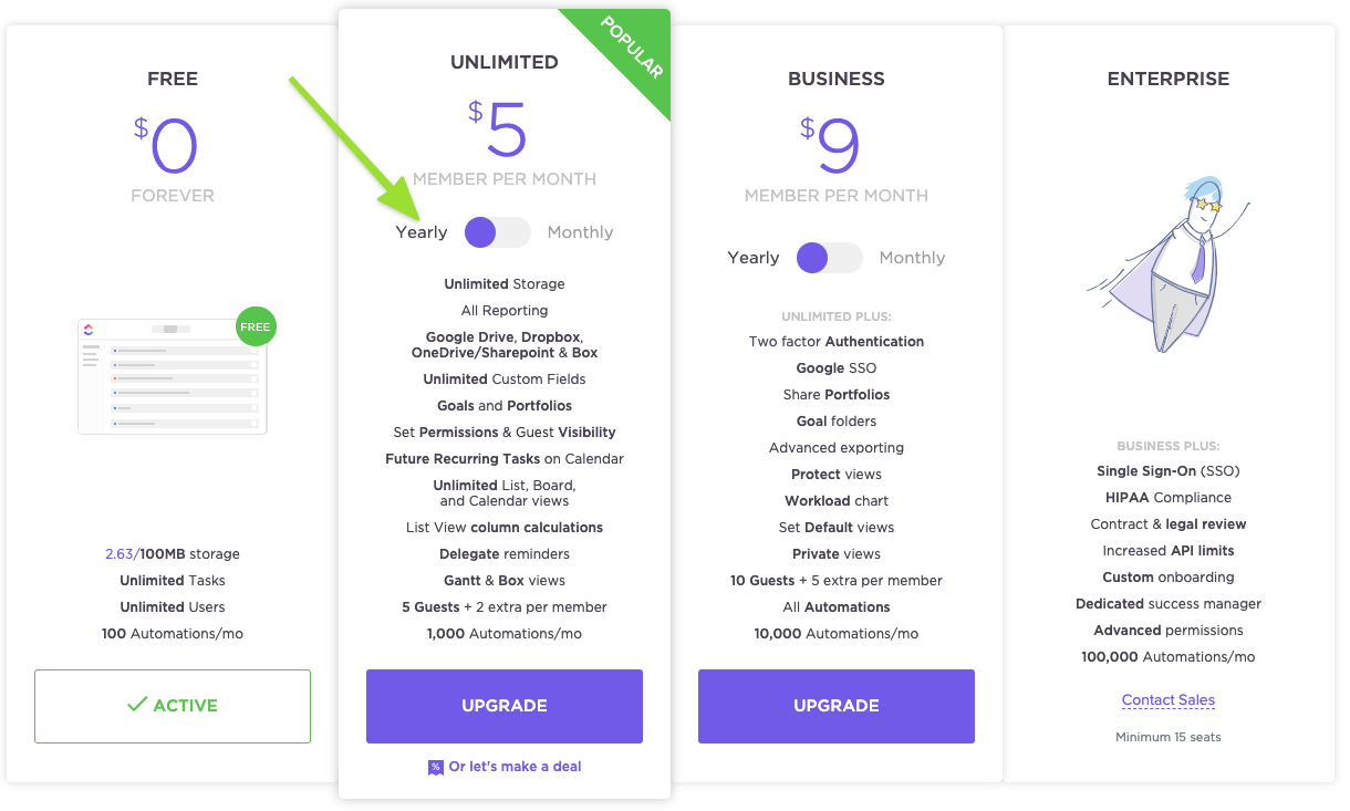Upgrade options available on the Free Forever Plan including Unlimited, Business, and Enterprise, highlighting the toggle to switch between yearly and monthly billing cycles