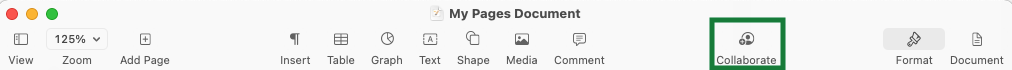 Collaborate icon in Apple Pages Document header bar