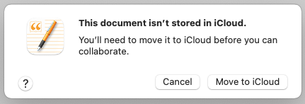Move to iCloud button
