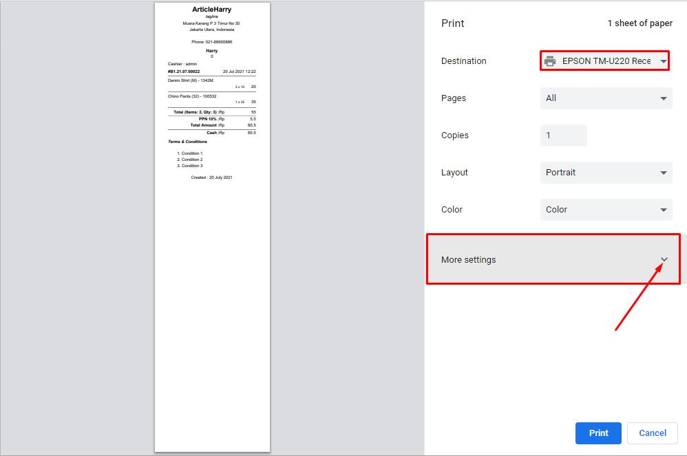 Select Printer Then Click More Setting