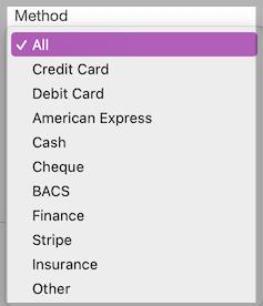Dentally Takings Report Payment Method filter
