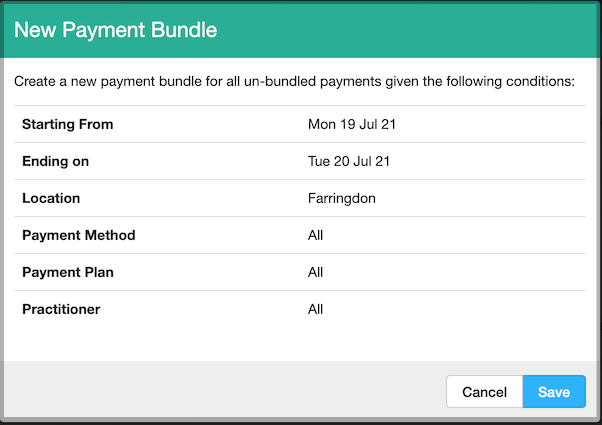 Dentally Takings Report - Create New Payment Bundle options