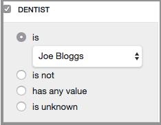 custom report select dentist