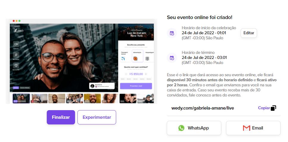 Na seguinte imagem mostramos as instruções para você criar o seu evento online na Wedy.