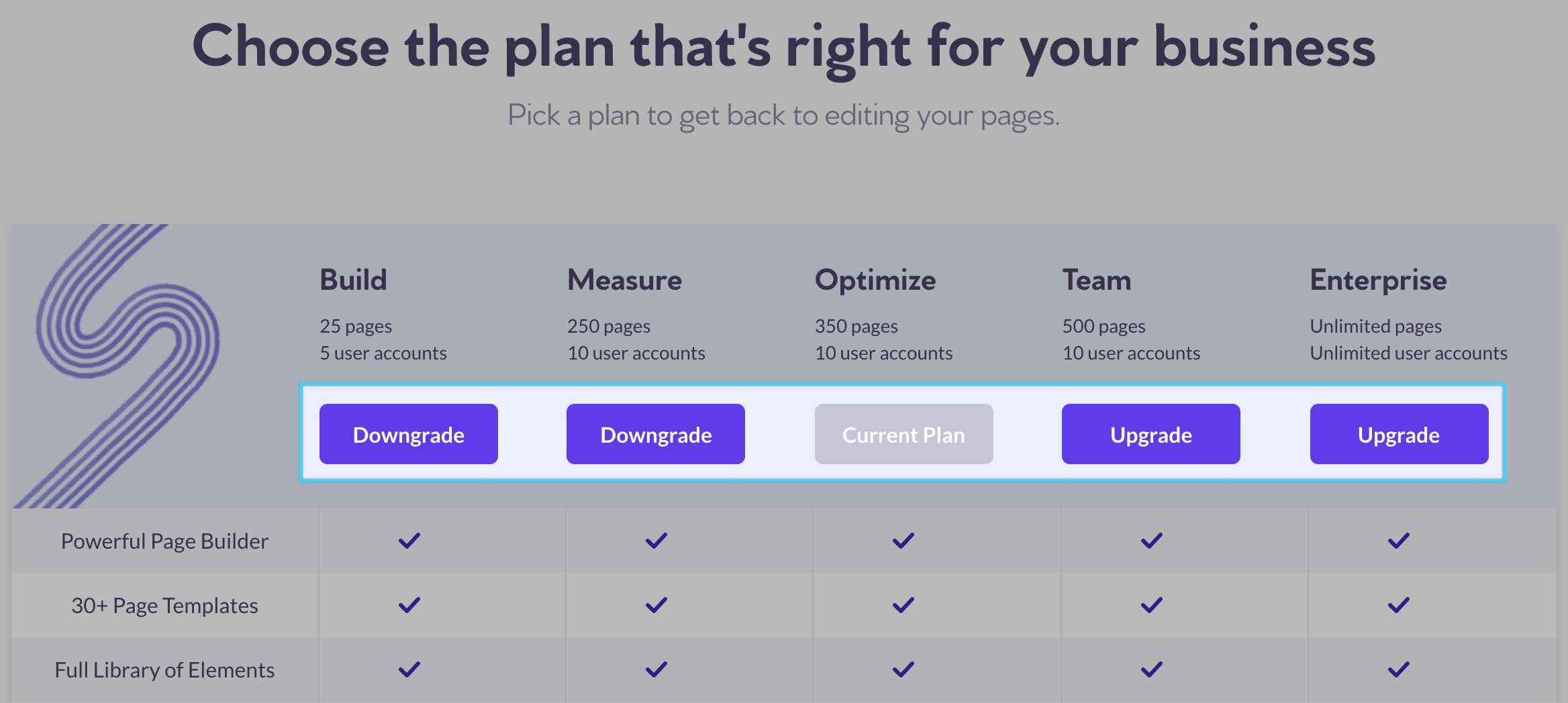 How to upgrade or downgrade your Page Builder plan