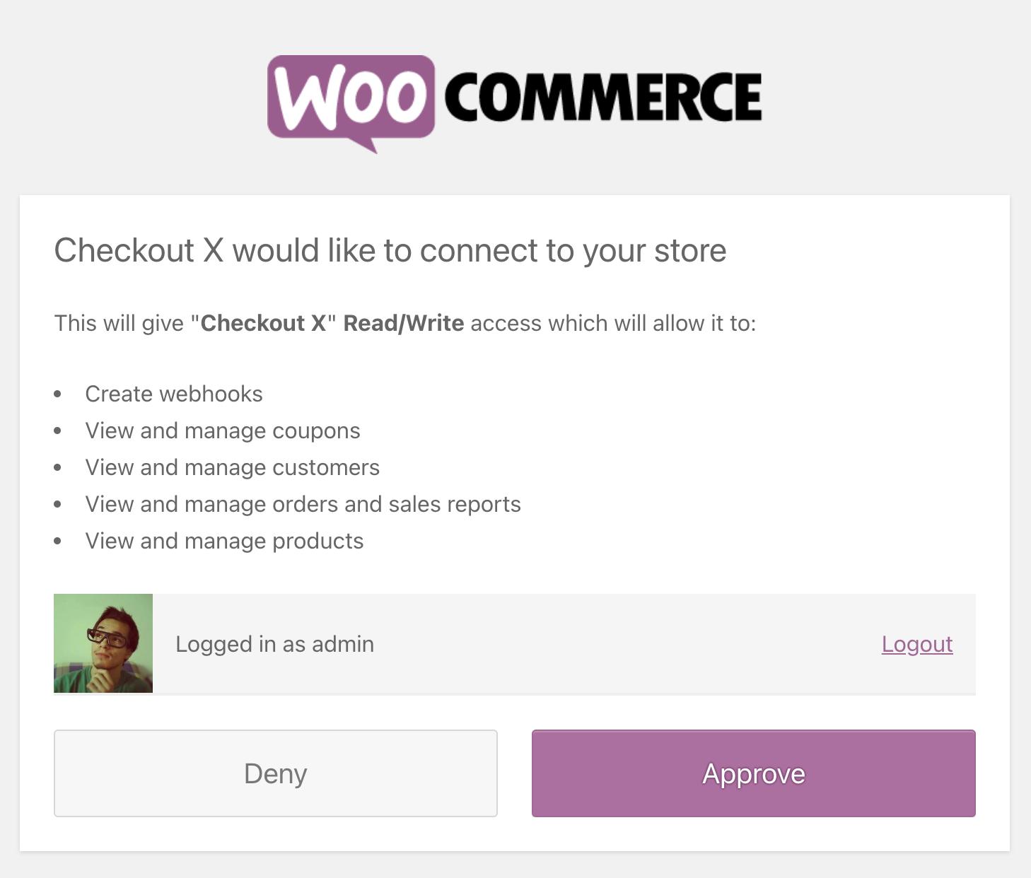 WooCommerce permissions screen