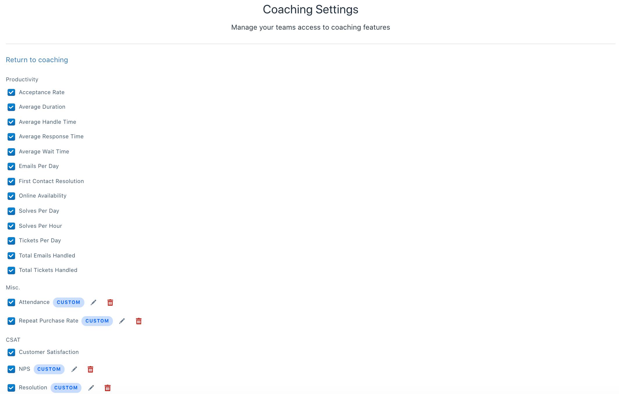 coaching settings