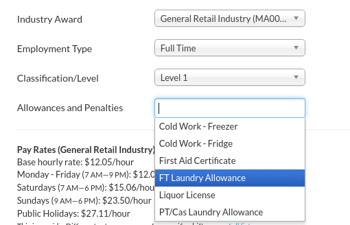 Payroll configuration allowances tanda help center in the award setup on the right side of the payroll tab under the allowances and penalties drop down select the relevant allowance and then press update yadclub Gallery
