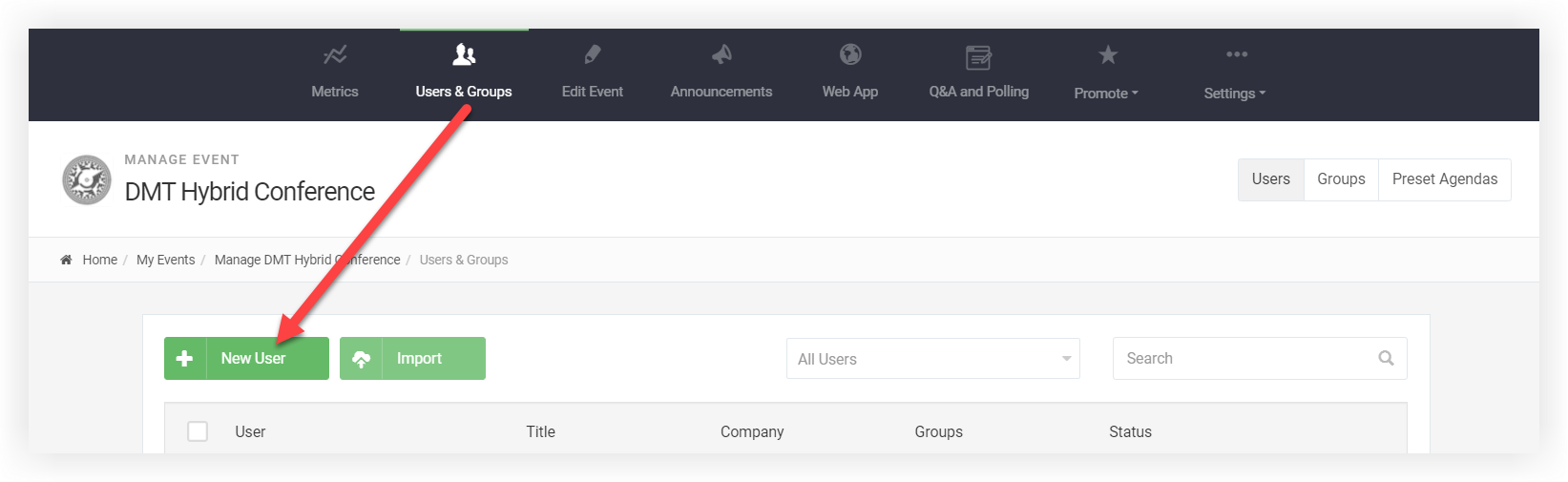 Screenshot of the Users page. The New User button is indicated.