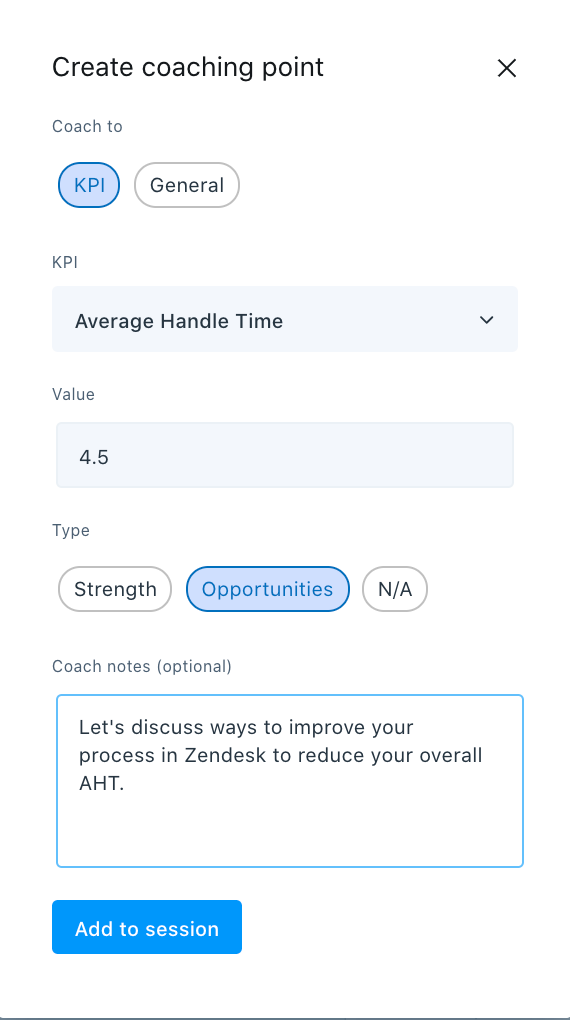 coaching point KPI
