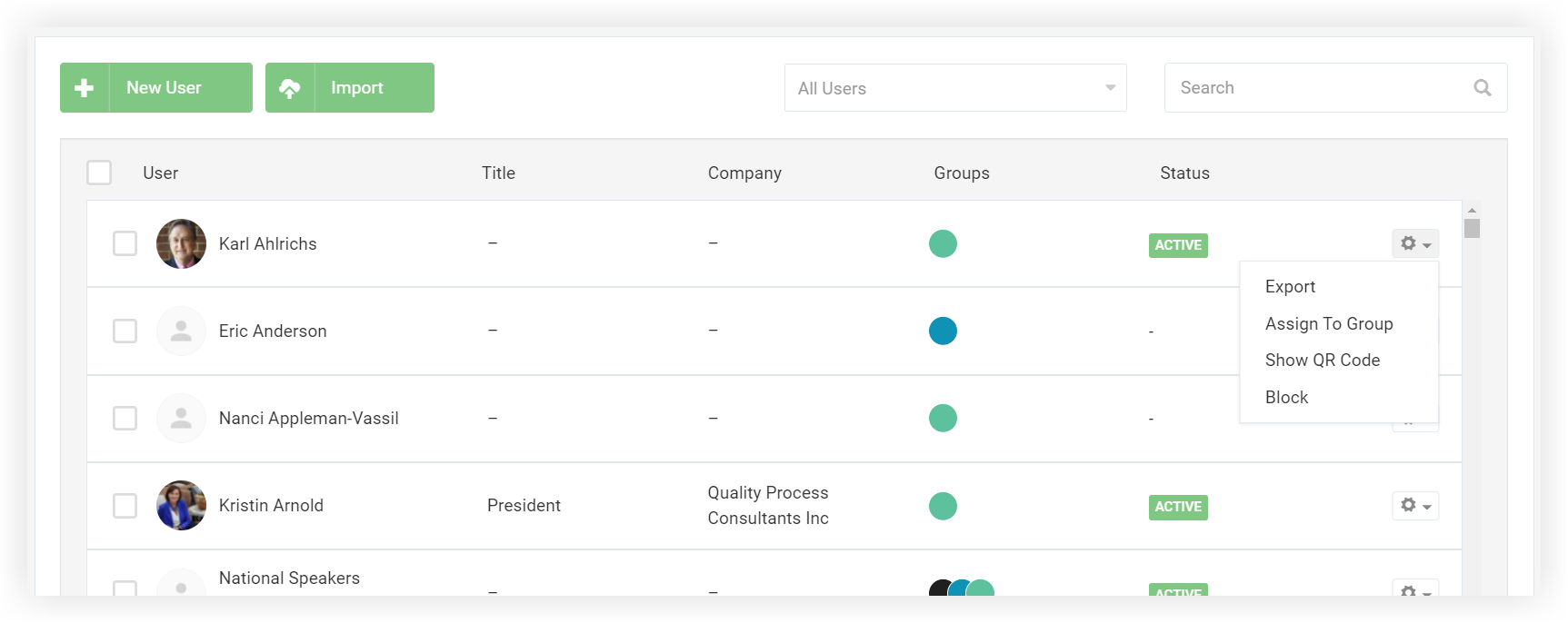 Screenshot of the Users list.