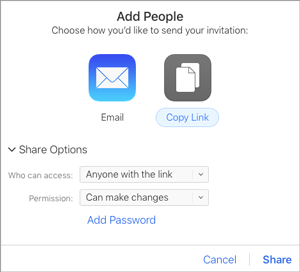 Share options in the Add People screen in iCloud