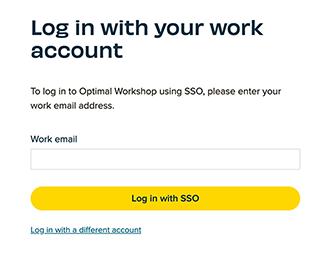 Screenshot of Optimal Workshop's Log in portal using SSO