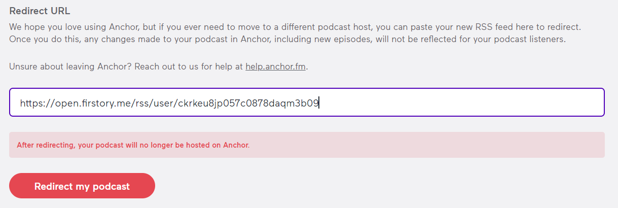 Redirect podcast from Anchor