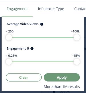 The TikTok engagement filter dropdown box on Heepsy.