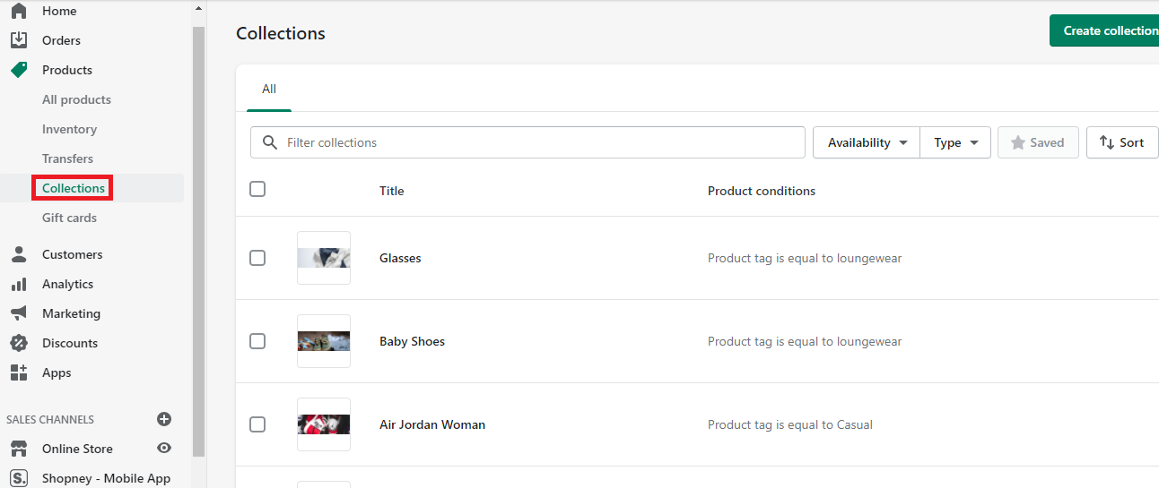Collections availibility , Shopify app store