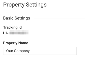 Copy the Tracking ID under the Property Settings.