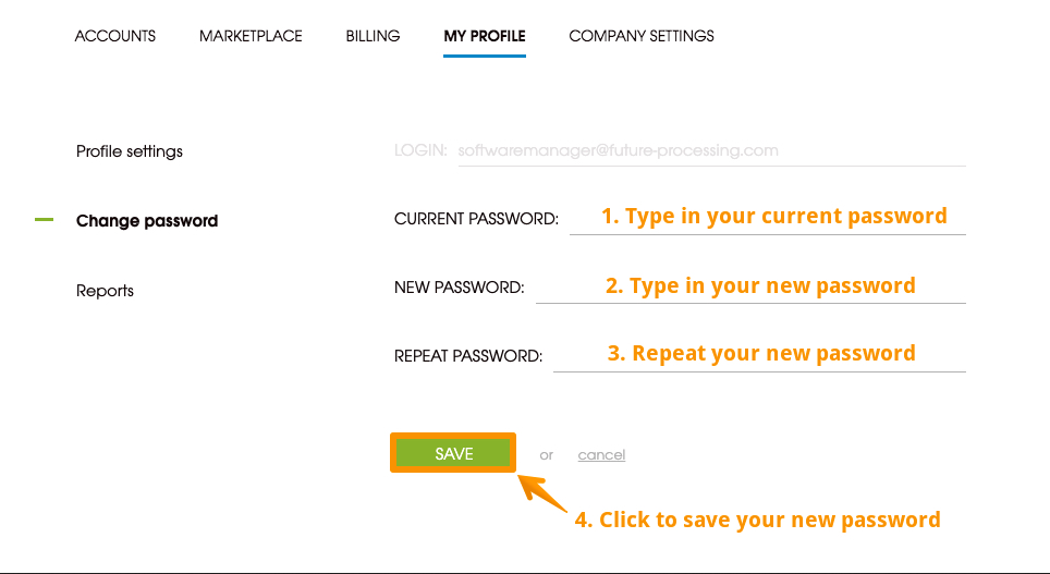 Image with step-by-step instruction on how to change your password in Woodpecker