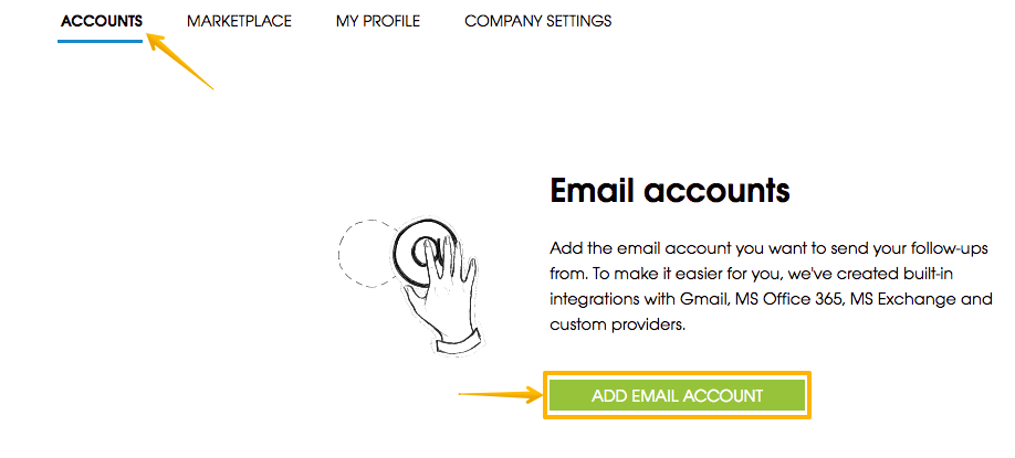 Image with arrow poiting to tab where user can add email account from Settings page