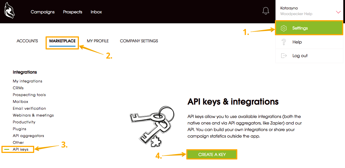 Image showing with arrows step-by-step how to create an API Key in Woodpecker