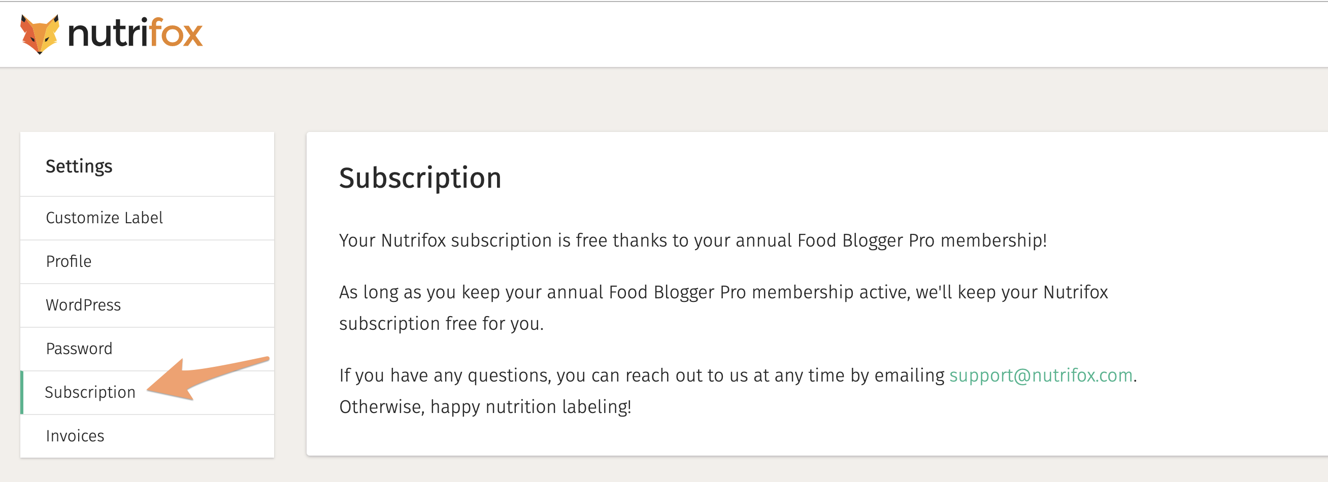 The Subscription Settings page on Nutrifox