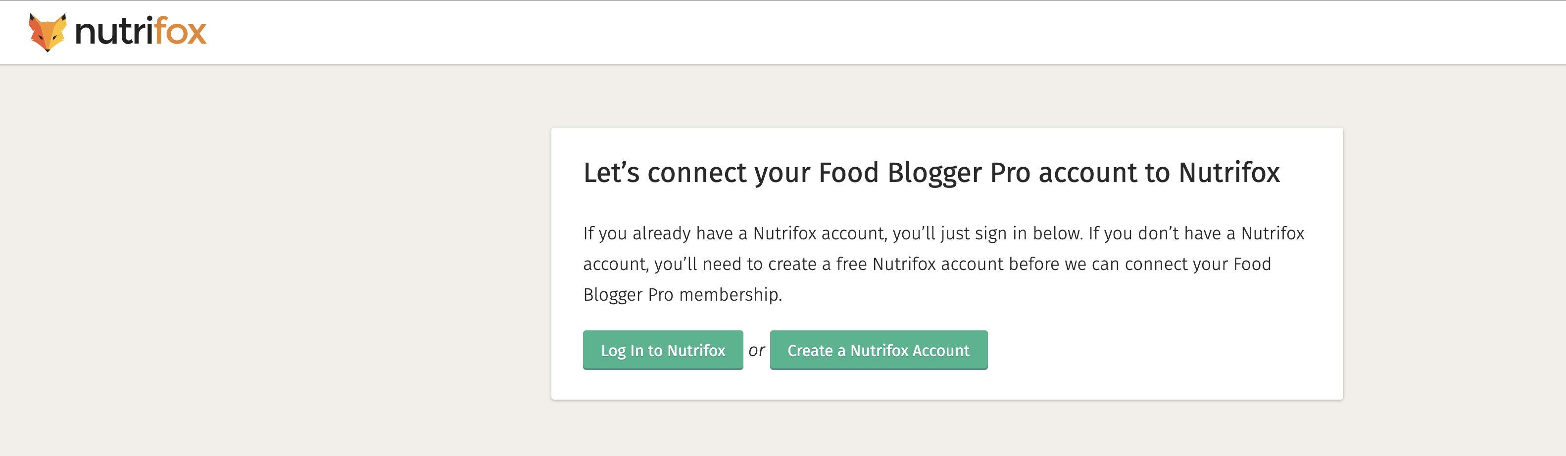 The connect FBP page on Nutrifox