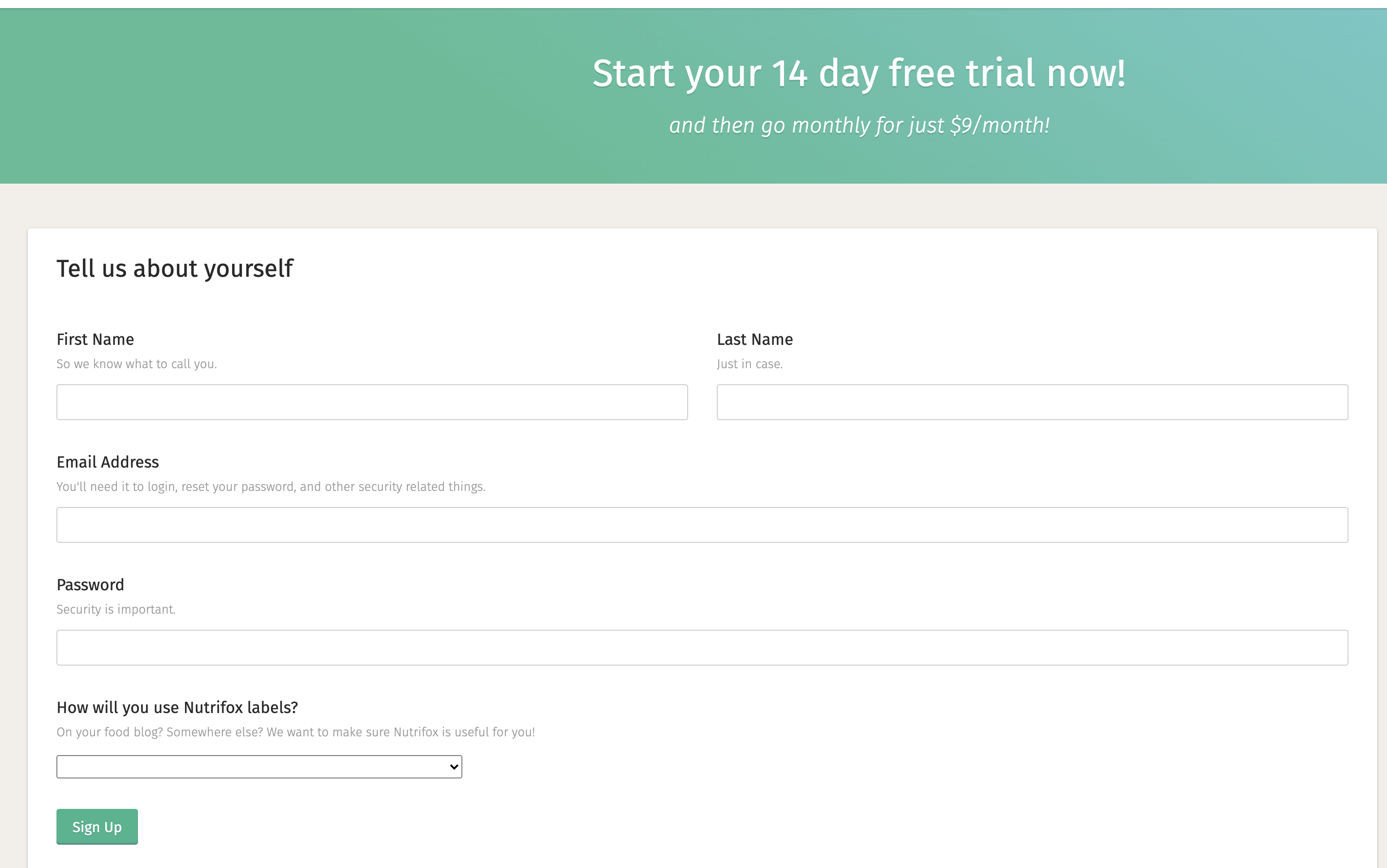 The Free Trial form page on Nutrifox