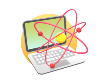 image of a computer and an atom, the logo for Coding in Science CodeHS Course