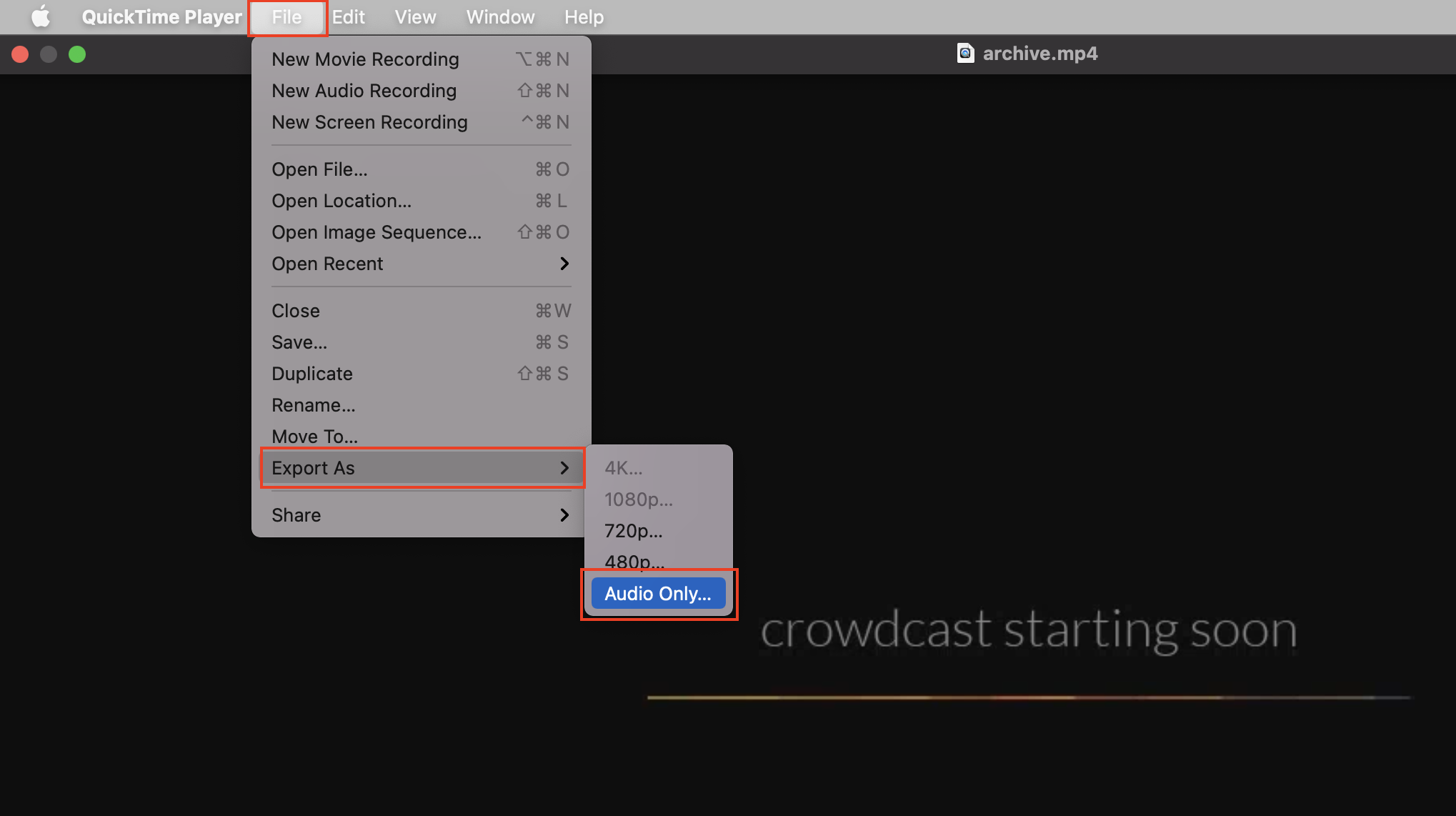 Screenshot of where you can export audio-only from within QuickTime