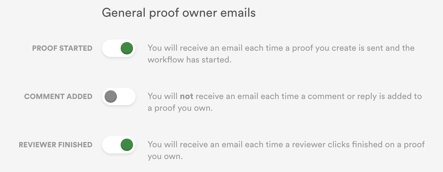Controlling email notifications in PageProof