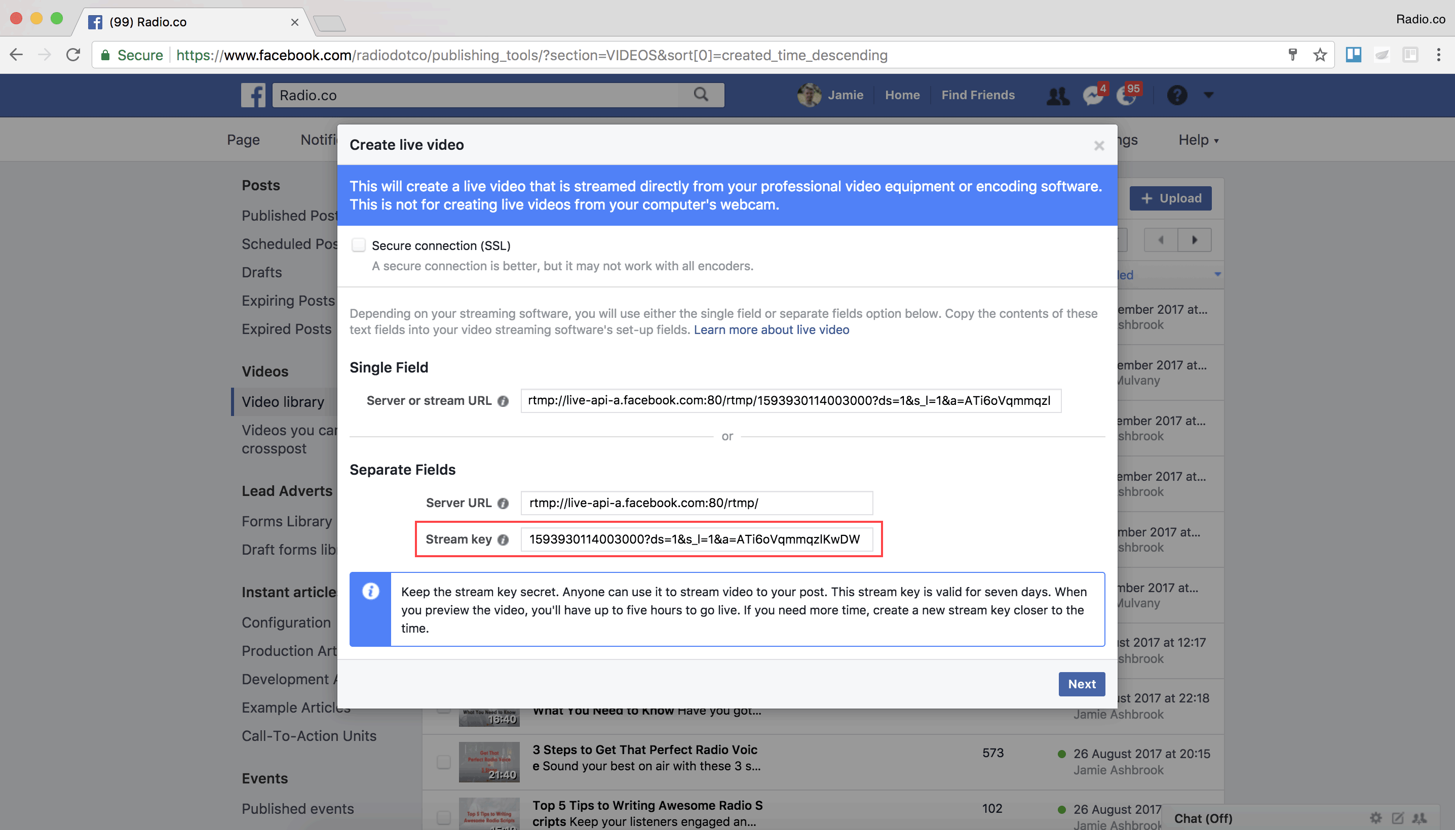 Getting the stream key from your Facebook page.