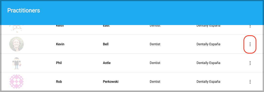 Dentally Patient Portal Manage Practitioners list