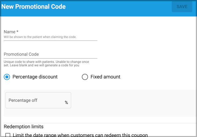 Dentally Patient Portal Create Promotional code