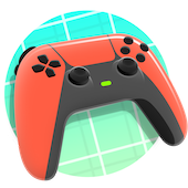 red game controller powered on