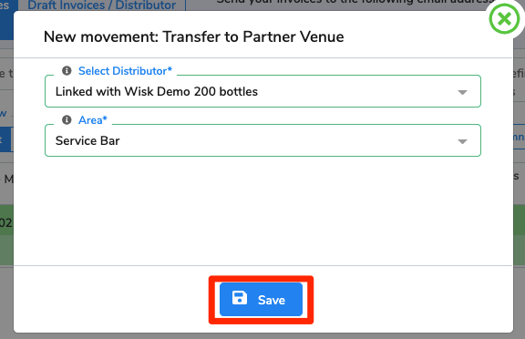 The venue to receive the transfer out has been selected (WISK Demo 200), and the