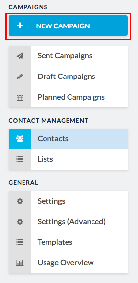 new campaign button in sidebar
