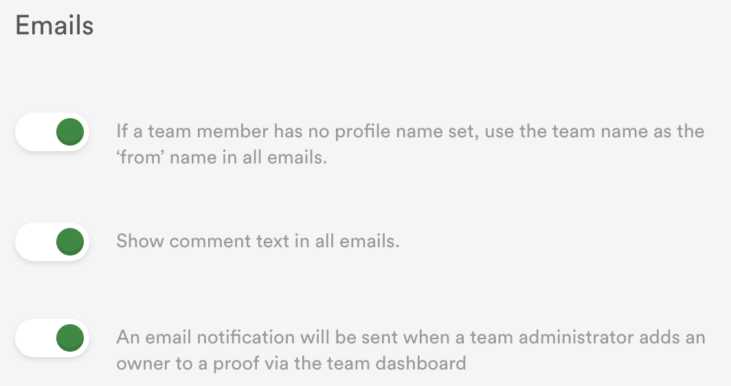 email control settings for team admins