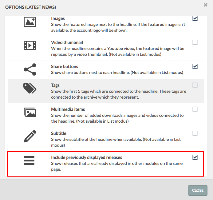 headlines option module with include previously displayed releases option highlighted