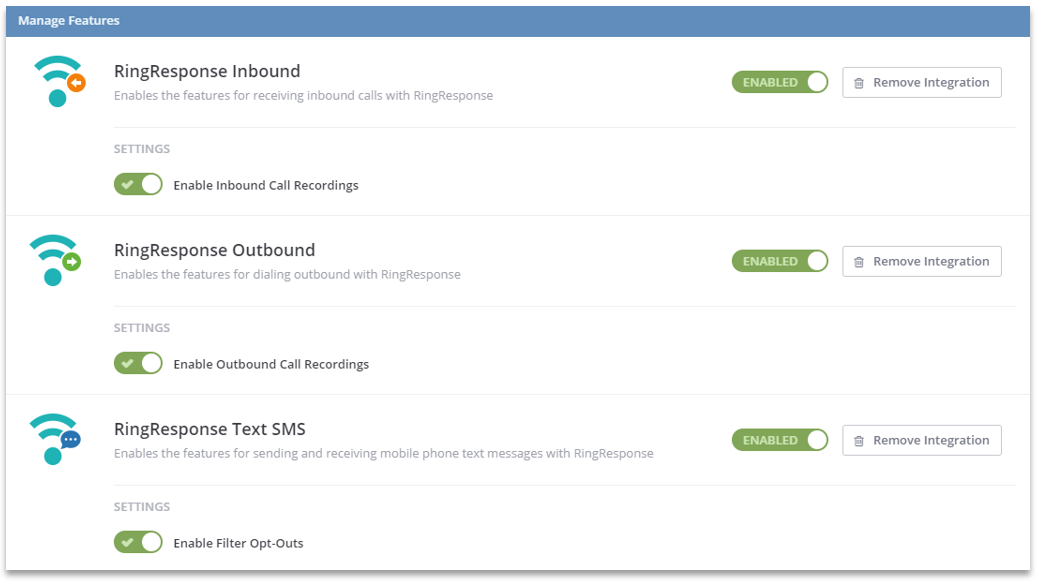 Enable RingResponse within ClickPoint Software