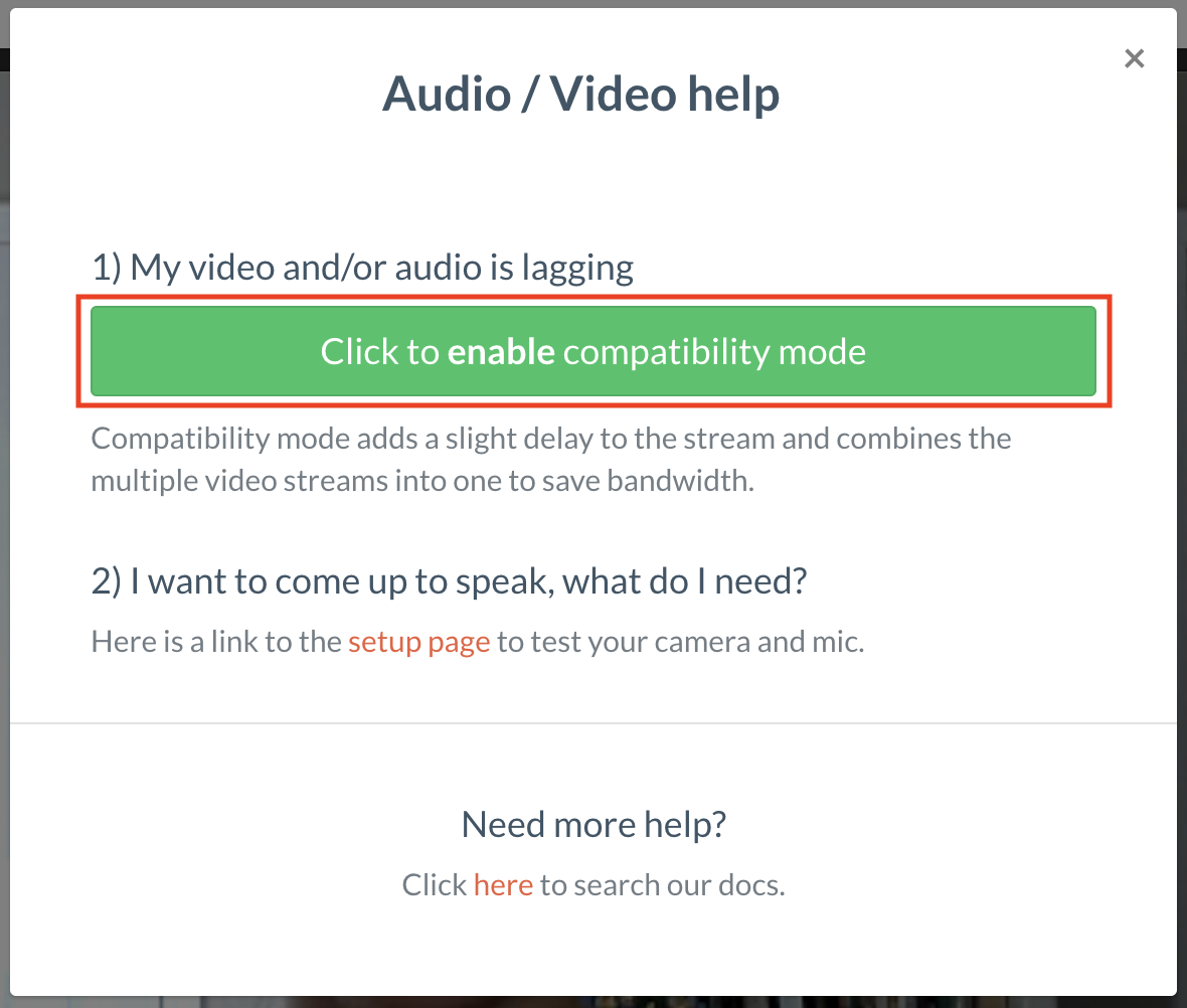 Screenshot of the compatibility mode button