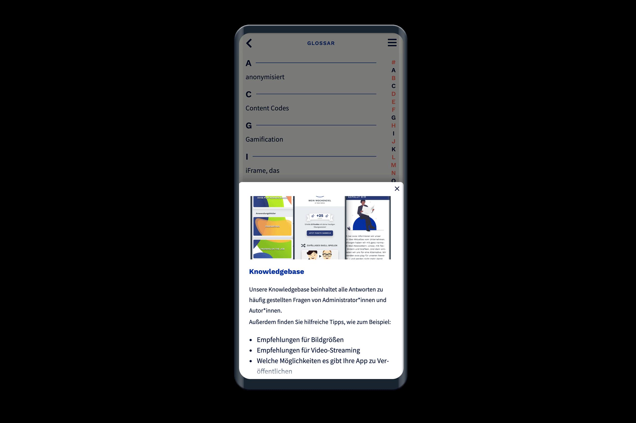 Ansicht der Glossar-Liste in der App.