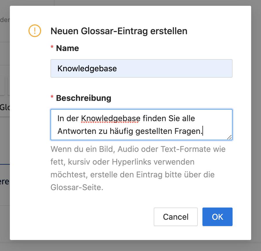 Schnelle Erstellung von Glossar-Einträgen im Karteneditor.