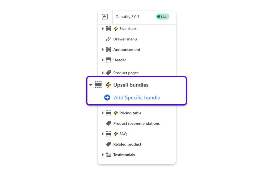 From the Product page, click on the arrow next to Upsell bundles to reveal the option to add a specific bundle.