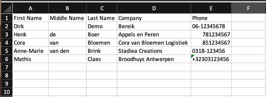 Voorbeeld CSV Webphone eigen import