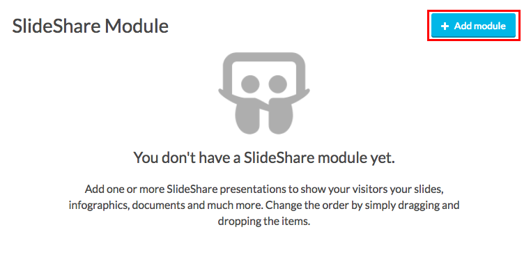slideshare add module button highlighted