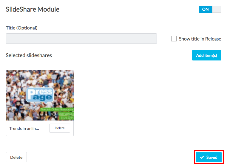 slideshare module save button highlighted